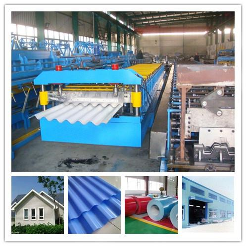 Lower cost roofing sheet roll forming machine