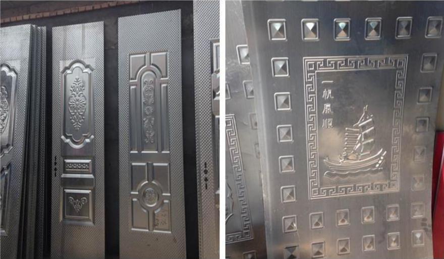 Metal door panel pattern pressing machine