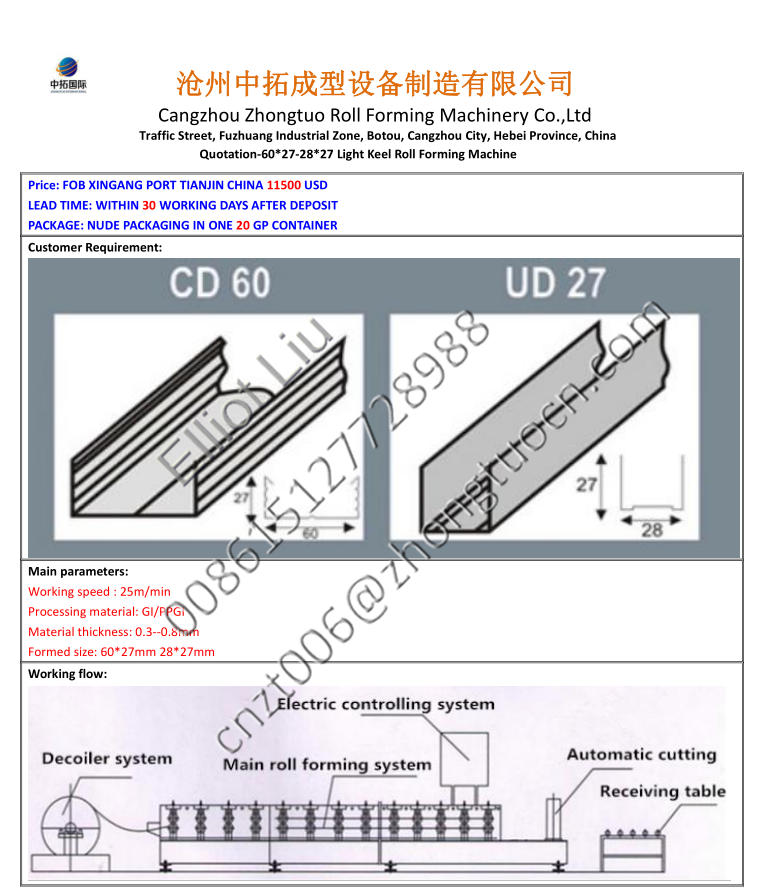 CD UD Ceiling system roll forming machine (7)
